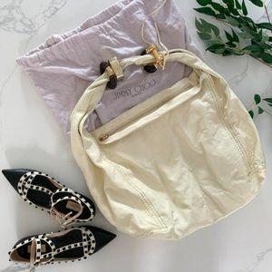 JIMMY CHOO Saba Hobo Bag with Gold Bracelets Ivory